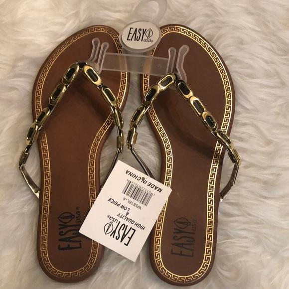 Nwt Black Gold Flip Flop Sandals
